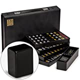 Yellow Mountain Imports Japanese Riichi Mahjong (Mah Jong, Mahjongg, Mah-Jongg, Mah Jongg, Majiang) Set with Black Tiles