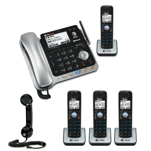 AT&T TL86109 DECT 6.0 2-line Bluetooth Cord/Cordless Phone System Includes Four Expandable Handsets Bundle