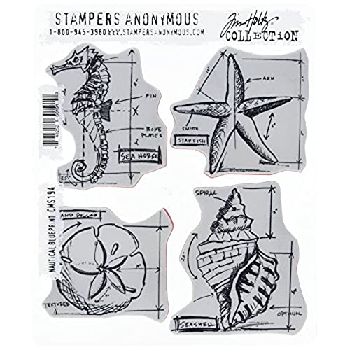 Blueprint nautical amazon stampers anonymous tim holtz cling rubber stamp set 7 inch by 85 inch nautical blueprint malvernweather