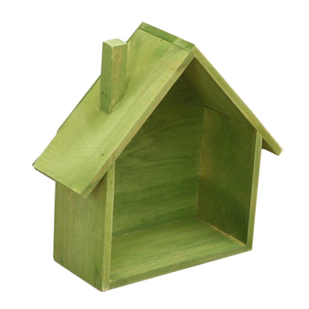 Caf/é Baoblaze DIY Titular de Caja de Almacenamiento Colgante de Pared Forma de Casa de Madera Estante Maceta Racks Decoraci/ón Casera