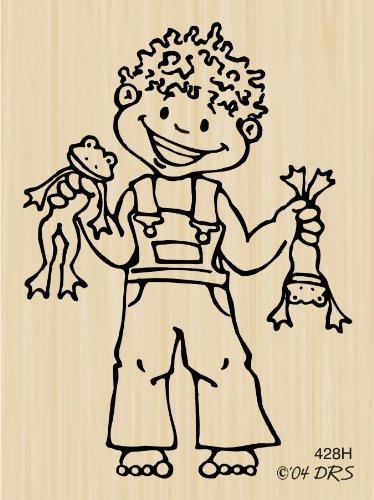 Frog Boy Cutie Pie Kid Rubber Stamp By DRS Designs