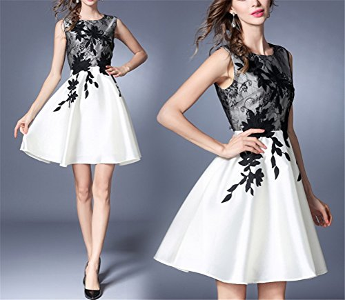 Pleated Summer High Woman Waist Slimming Round SYGoodBUY Sleeveless Dress 123 Floral Neck White Short Elegant Casual Pattern SzxOAZw