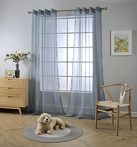 Miuco 2 Panels Grommet Textured Solid Sheer Curtains 84 Inches Long for Bedroom (2 x 54 Wide x 84