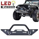 LEDKINGDOMUS 07-17 Jeep Wrangler JK Rock Crawler Front Bumper with LED Light & D rings