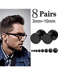 LOLIAS Black Stud Earrings for Men Flat Back Gauge Earring Set