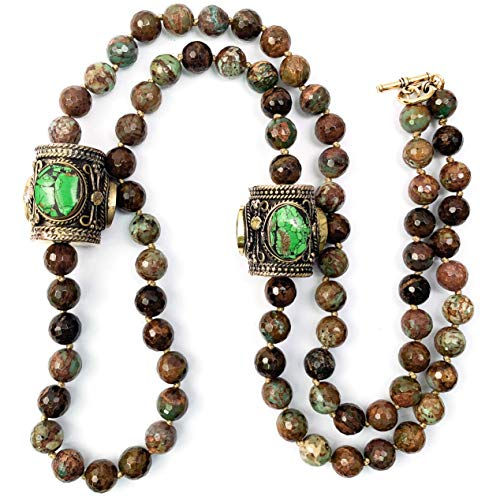 Tibetan Turquoise Barrels & Green Opal Necklace - 36 Inches Long Handmade Necklace by Miller Mae Designs