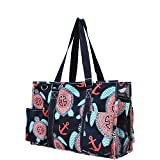 Sea-Turtle-Anchor-Print-Zippered-Caddy-Organizer-Tote-Bag