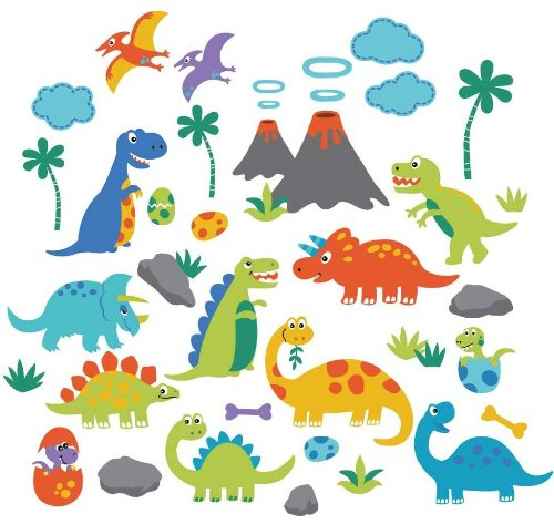 Dino Friends Decorative Peel & Stick Wall Art Sticker Decals (Dinosaurs Wall Art)