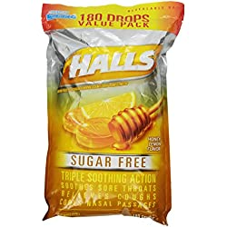 HALLS Sugar-Free Cough Drops, Honey Lemon, 180 Count