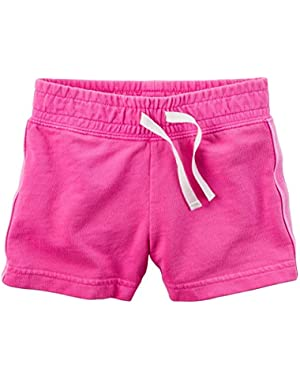 Carters Baby Girls Sparkle Side Stripe Neon French Terry Shorts Pink 24M