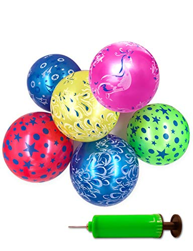 (Mimgo-shop Inflatable Beach Balls with Pump, Swimming Pool Party Favors Water Play Outdoor Beach Toys for Adults and Kids (6 Pcs Assorted Colors))