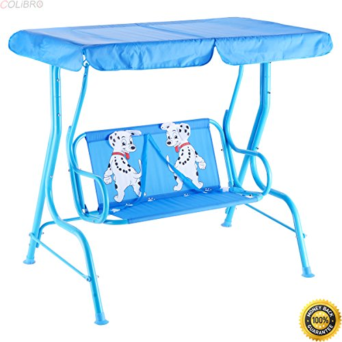 COLIBROX Kids Patio Swing Chair Children Porch Bench Canopy 2 Person Yard Furniture Blue,childrens canopy swing,child's porch swing,child size porch swing,baby swing outdoor