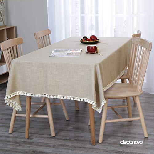 Deconovo Manteles Mesa Cocina Efecto Lino Impermeable Antimanchas Moderno 137x200cm Caqui