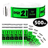 Goldistock 3/4'' Tyvek Wristbands Over 21- Neon Green 500 Ct.- Easy Drinking Age Identification