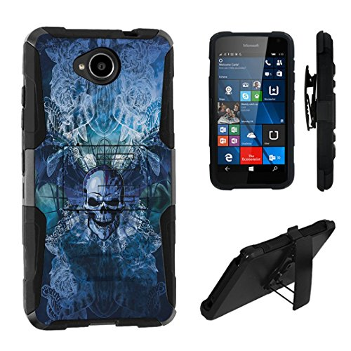 Lumia 650 Case, DuroCase Hybrid Dual Layer Combat Armor Style Kickstand Case w/ Belt Clip Holster Combo for Microsoft Lumia 650 (Released in 2016) - (Skull Wings Blue)