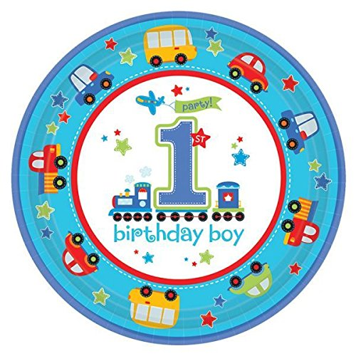 First Christmas Plate (8pk All Aboard First Birthday Paper Plates 23cm Party Tableware)