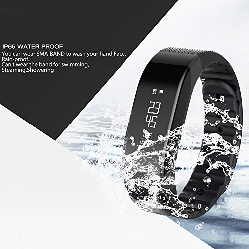 SMA Fitness Tracker, Bluetooth 4.0, Heart Rate sleep Monitor, Waterproof watch, Activity Wristband, Calories Track Step Track Smart Bracelet For iPhone & Android phones Black color Men/Women by SMA (Image #8)
