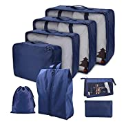 Cloudsky 7PCS Luggage Suitcase Organizer + 1PCS Free Cosmetic Pouch, Lightweight Waterproof Oxford Packing Cubes for…