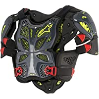 Alpinestars Men's A-10 Full Motorcycle Chest Protector, Anthracite/Black/red, X-Large/2X-Large