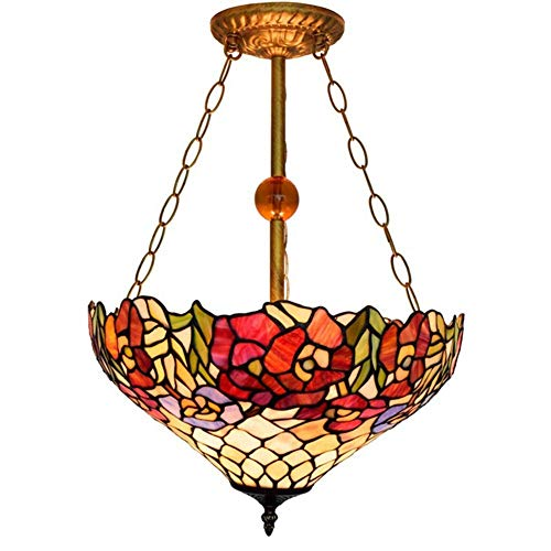 Tiffany Style Pendant Light 16-Inch Rose Pattern Decorative Stained Glass Hanging Lamp Parlour Bedchamber Club Anti-Chandelier, E27, Max40W2, BOSS LV, 110v