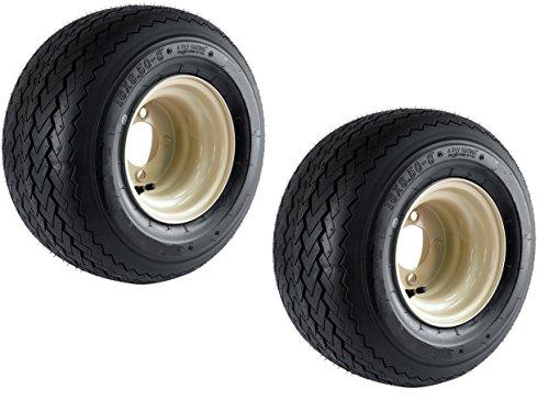 2-Pack Club Car Beige Tan Golf Cart Tire On Rim 18X8.50-8 18 x 8.5 x 8 4 Lug