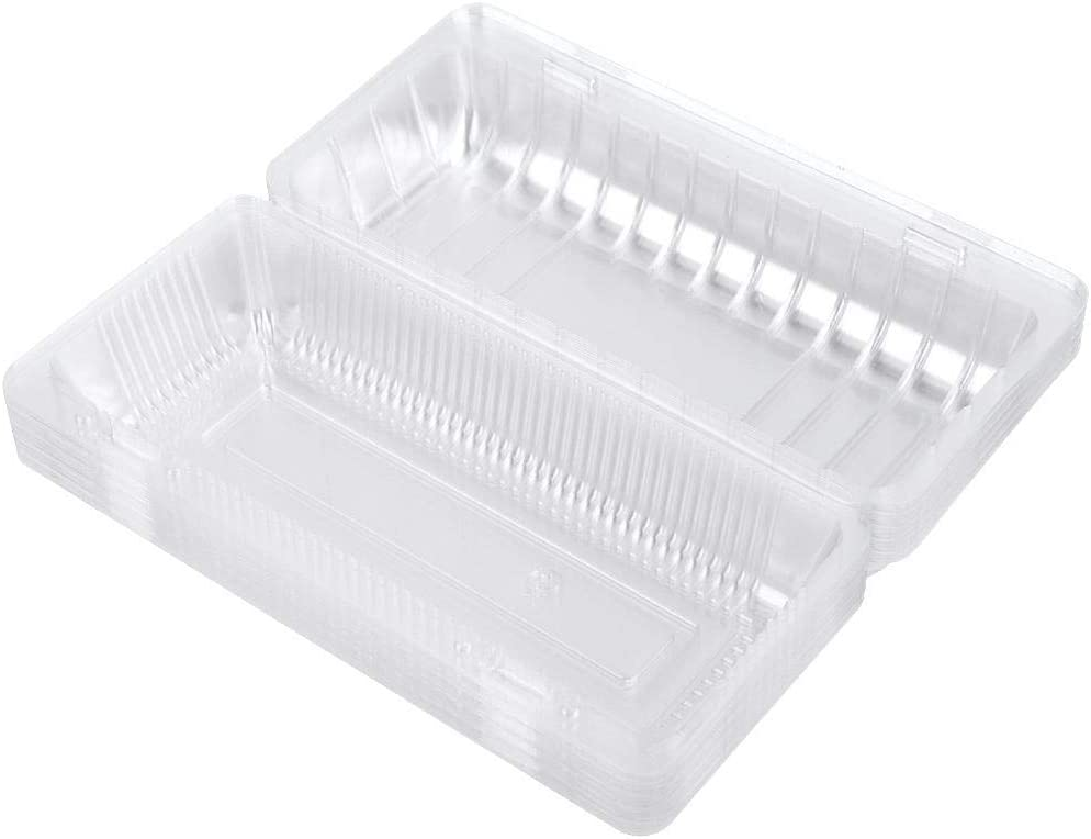 25 Piece Disposable Food Plastic Containers with Covers Hinged Food Take Out Containers Lunch Salad Fruit Storage Box (22.512.7cm)