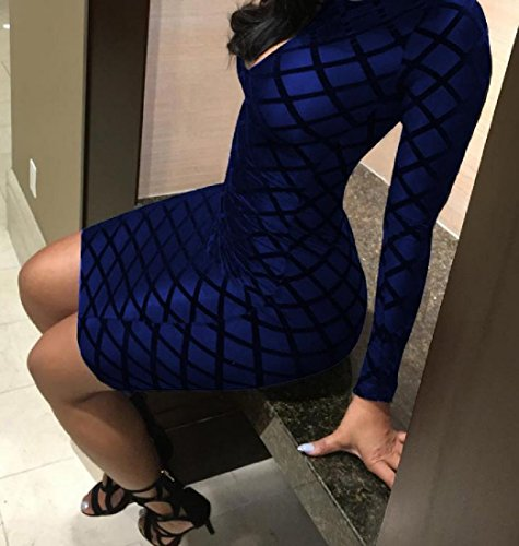 Neck Royal Long Women Club Blue Zipper High Plaid Hollow Coolred Dress Sleeved XgwpUq