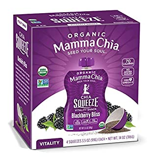 Mamma Chia Squeeze Organic Vitality Snack, Blackberry Bliss, 4 Count (Pack of 6)