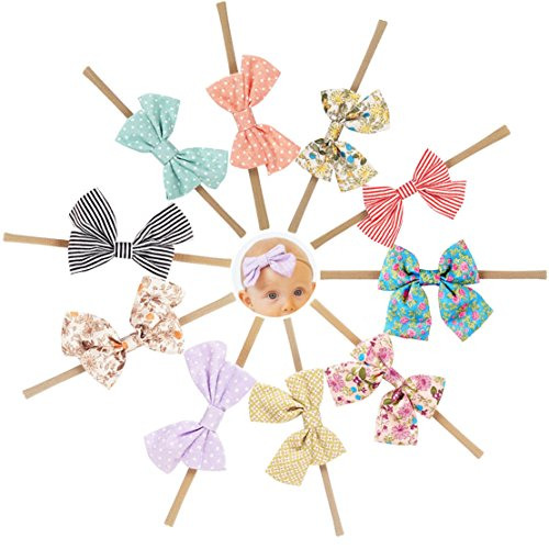 Ncmama Fabric Cheer Bows Nylon Elastic Baby Girls Headbands for Newborn Infant Toddler Hairband Pack of 10