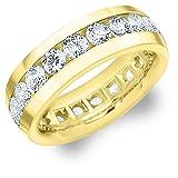 18K Yellow Gold Men's Diamond Eternity Ring (4.0 cttw, F-G Color, VS1-VS2 Clarity) Size 13
