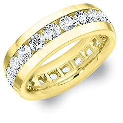 4 CTTW Men's Diamond Eternity Ring in 18K Yellow Gold (4.0 cttw, F-G Color, VS1-VS2 Clarity)