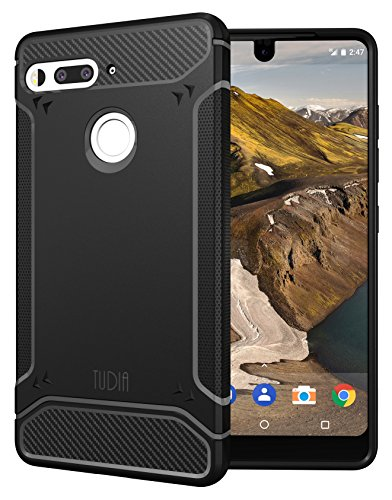 Belt Clip Oem Cellular Accessory (Essential Phone PH-1 Case, TUDIA Carbon Fiber Design Lightweight [TAMM] TPU Bumper Shock Absorption Cover for Essential Phone PH-1 (Black))