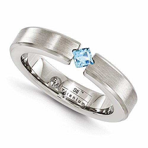 Edward Mirell Titanium Satin Finish Tension Set Blue Topaz Gemstone 4mm Wedding Band - Size 9 by Edward Mirell