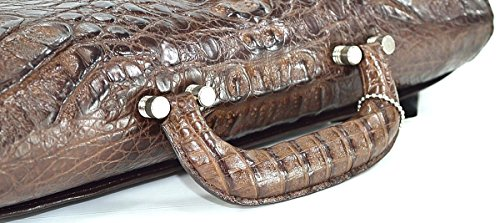 Mens Hornback Skin M Dark Crocodile Bag Strap Handbag Authentic Brown Business Briefcase qSOatx44