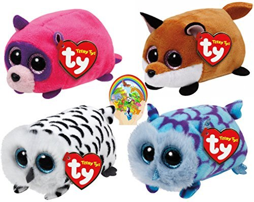 Teenys Ty Mini Forest Friends Finley Fox, Rugger Raccoon, Mimi Blue and Nellie Owls Set of 4 with Bonus Animals Sticker by Ty Beanie Babies