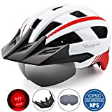 VICTGOAL Bike Helmet for Men Women with Led Light Detachable Magnetic Goggles Removable Sun Visor Mountain & Road Bicycle Helmets Adjustable Size Adult Cycling Helmets (White)