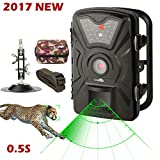 Trail Camera - Game Trail Camera 1080P 12MP with Sound Scouting Camera with 2.4in LCD Screen No Glow Black Infrared Night Vision 0.5s Trigger Speed IP66 Waterproof  for Wildlife Hunting Monitoring and Farm Security