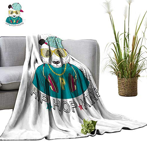 YOYI Bed Blanket Panda boy Dresse up in Cool City Style Drawn Graphi Hipster imal Portrait Comfortable Home Decor 35