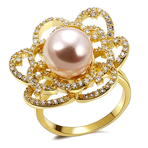 PSRINGS Rings Ladies Copper material gold plated with Cubic zircon imitation pearl Ring designer jewelry 9.0