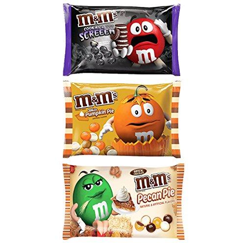 """M&M """"COOKIES & SCREEEM"""" Cookies and Cream + """"Pumpkin Pie"""" + """"Pecan Pie"""" Flavored M&M's Seasonal Halloween Candy 8oz - 9.9oz"""