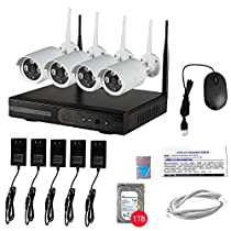 WIFI 4CH 720P NVR CCTV System IP Security HD Night Vision Camera Outdoor 1TB HDD