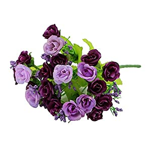 "1 Bouquet 21 Head 9"" Artifical Fake Rose Wedding Party Home Decor Silk Flower (Purple) 100"
