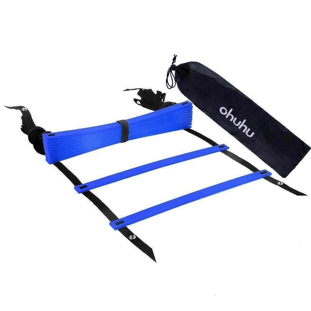 Ohuhu Agility Ladder with Black Carry Case, 12-Rung Blue by Ohuhu