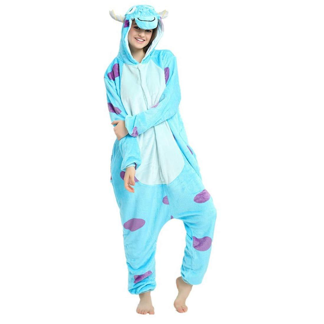 Casa Adulto Animal Pijamas con Capucha Kigurumi Unisexo la Ropa de Noche del Traje del Anime de Cosplay Disfraz Homewear Lounge Sleepwear del Onesie Azul S