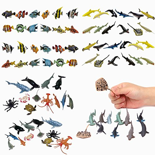 Fun Central BC832 Sea Animal Figure Party Pack Assorted Pack of 4 Dozens- 12 Pieces Shark Toys, 12 Pieces Ocean Sea Animals, 12 Pieces Whale and Shark Toy Figures and 12 Pieces Tropical Fishes