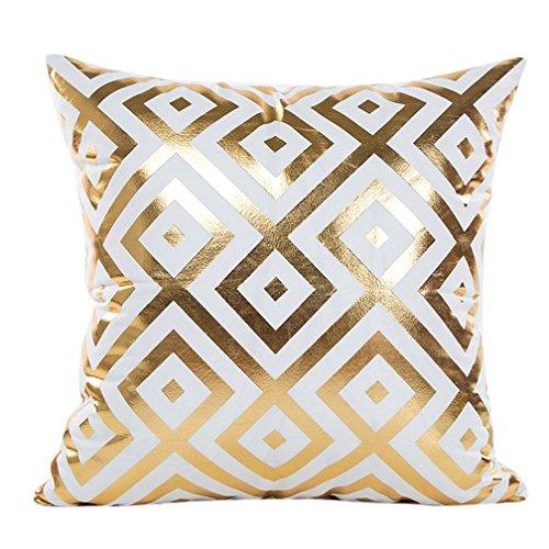 Super Soft Throw Pillow Case Cover Gold Foil, FreshZone Christmas Pillow Covers 18x18 Xmas Pillow Case Decorative (Gold D)