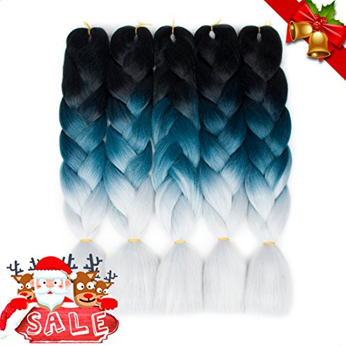 """Ayana Braiding Hair Ombre Jumbo Hair Extensions 24"""" Pack of 5 High Temperature Kanekalon Synthetic Fiber for Twist Braiding Hair (Black-Blue Grey-Light - Limited Greylight"""