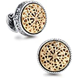 18K Gold Vintage Celtic Cross Filigree Tuxedo Shirt Cufflinks Best Fathers Day Gifts for Men Wedding Business with Luxury Gift Box