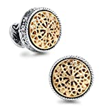 #1: Men's Silver & 18K Gold Plated Round Whale Back Closure Cufflinks, For Wedding, Business With Gift Box