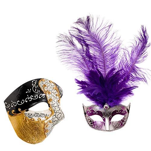 Purple Phantom Costume - ILOVEMASKS Phantom Musical Gold & Silver